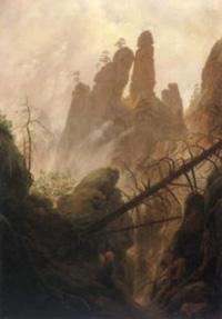 Caspar Friedrich David&nbsp;   <br /> <em>Felsenpartie im Elbsandsteingebirge</em>
