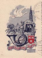 cześć kartki pocztowej z Holandii z 1948 r.