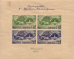 Blok z okazji V Ogólnopolskiej Wystawy Filatelistycznej - 1938 r.