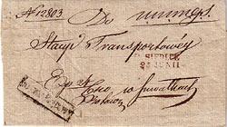 Sprawozdanie z działalności Stacji Transportowej w Siedlcach /koperta/ 1840 r.