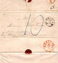datownik na liście sprzed roku 1860