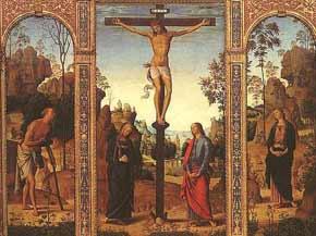 rys. 3 Perugino, Ukrzyżowanie z NMP, św. Janem, św. Hieronimem i św. Marią Magdaleną, ok 1485, National Gallery of Art, Waszyngton