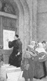 Przybicie 95 tez do drzwi kościoła w Wittenberdze