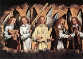 H. Memling, Muzykujące anioły, ok. 1485, fragment