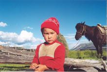 buriackie dziecko w dolinie Tissy