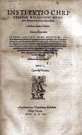 Strona tytułowa Institutio christiani religioni Kalwina