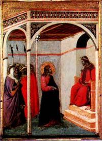 Ambrosio Lorenzetti - Jezus przed Piłatem