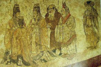przyjęcie ambasadorów - malowidło w grobowcu cesarza Zhongzong